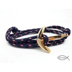 Bracelet Ancre Bleu Blanc Rouge dorée