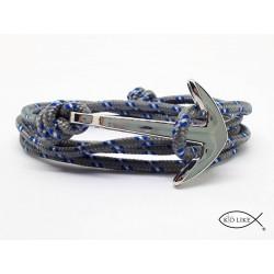 Bracelet Gris Ancre Argentée