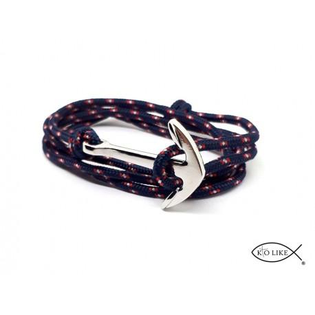 Bracelet Ancre Bleu Blanc Rouge argenté