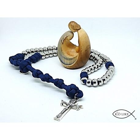 Chapelet bleu paracorde perle acier inoxydable