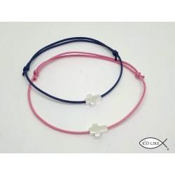 Bracelet charm croix catholique Argent et plaque or